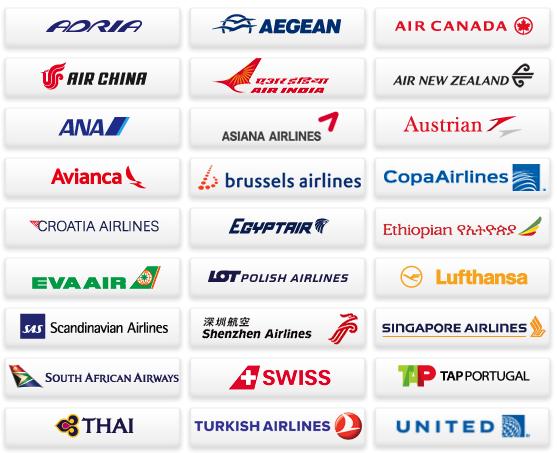 スターアライアンス加盟航空会社ロゴ