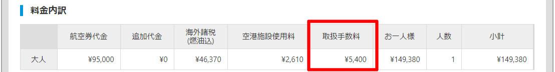海外航空券料金内訳詳細