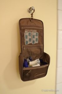 ポリエステル吊して使える洗面用具ケース使用例
