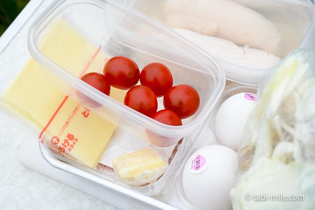 無印良品キャンプ嬬恋朝ごはんチーズミニトマト
