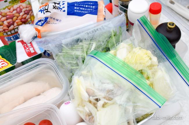 無印良品キャンプ嬬恋朝ごはんスープの野菜