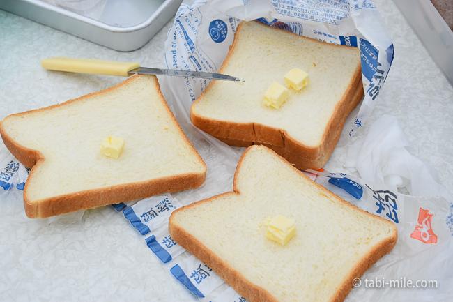 無印良品キャンプ嬬恋朝ごはんホットサンドバター