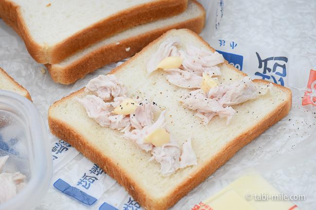 無印良品キャンプ嬬恋朝ごはんホットサンド鶏ささみマヨネーズ
