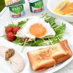 無印良品キャンプ嬬恋朝ごはんホットサンド目玉焼きサラダ鶏ささみ