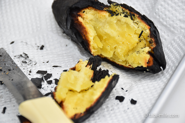 無印良品キャンプ嬬恋朝ごはん焚き火焼き芋黄金色
