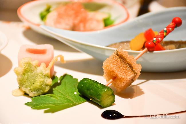 鬼怒川金谷ホテル夕食前菜きゅうり子持ち昆布