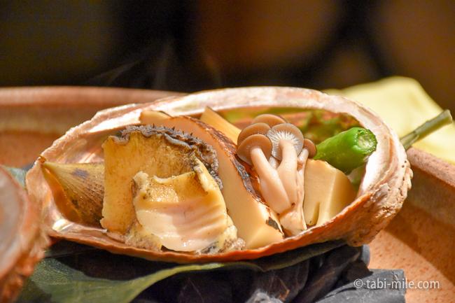 鬼怒川金谷ホテル夕食焼物蚫のバター炒めたけのこ