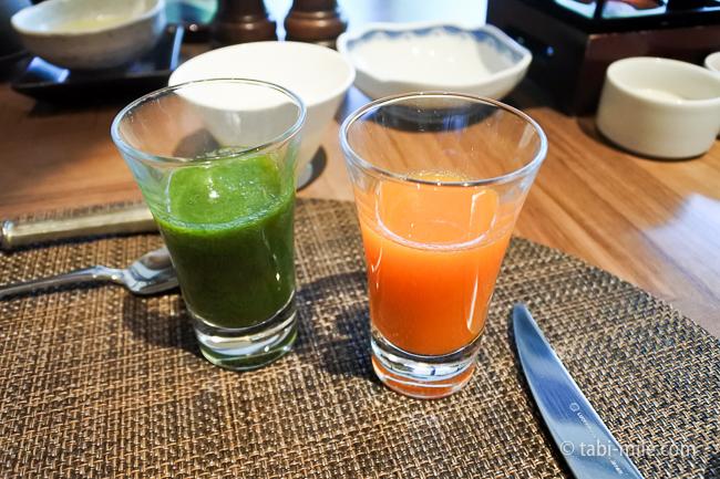 鬼怒川金谷ホテル朝食洋食野菜ジュース2種