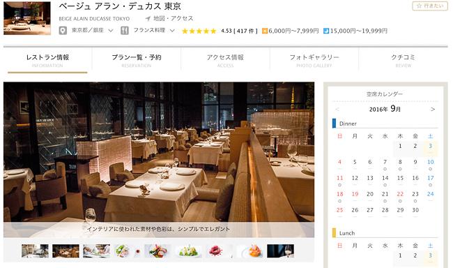 一休レストランベージュアラン デュカス東京