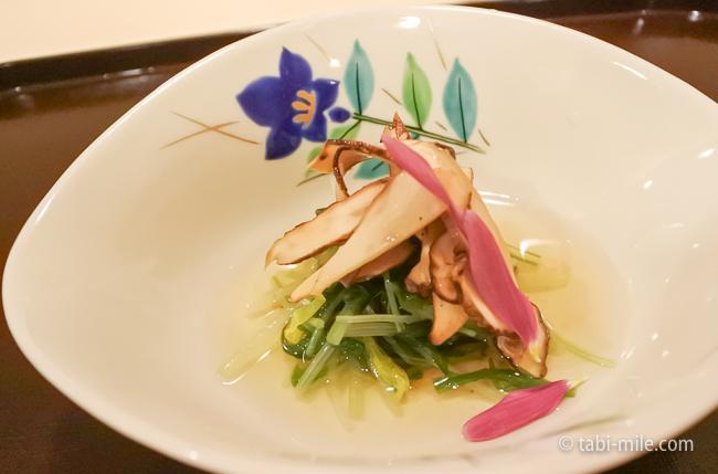 銀座レストランウィーク日本料理和久田松茸と水菜のお浸し