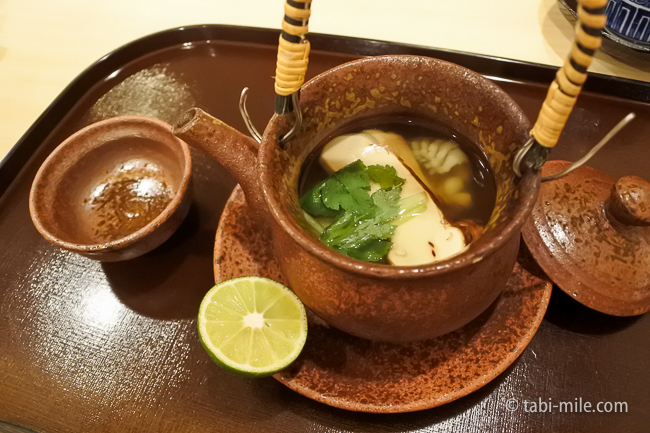 銀座レストランウィーク日本料理和久田松茸の土瓶蒸はも水菜