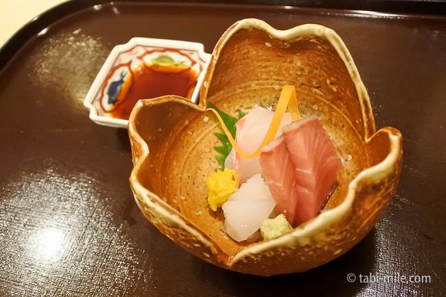 銀座レストランウィーク日本料理和久田刺し身盛り合わせぶり鯛イカ