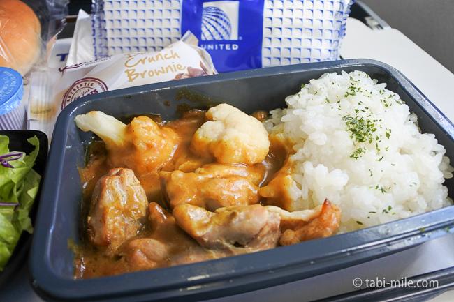 ユナイテッド航空グアム機内食チキンカレー