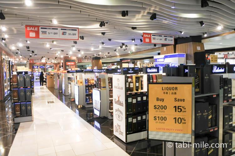 グアム空港ロッテ免税店 お酒とタバコ