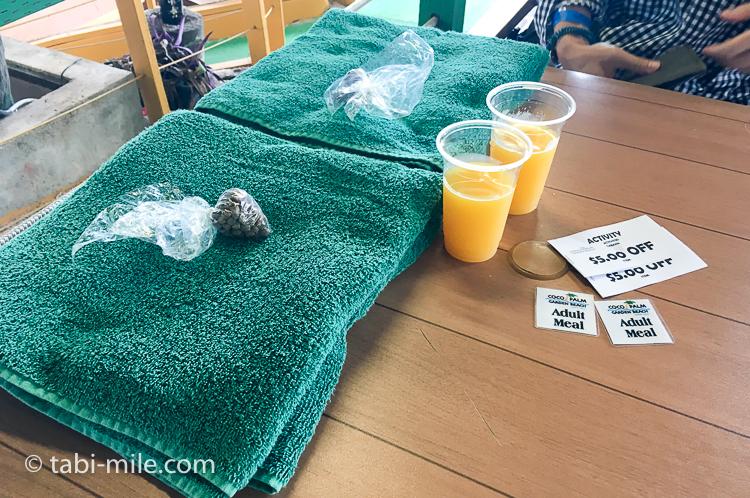 グアム旅行 ココパームガーデンビーチ タオル魚の餌マンゴージュース