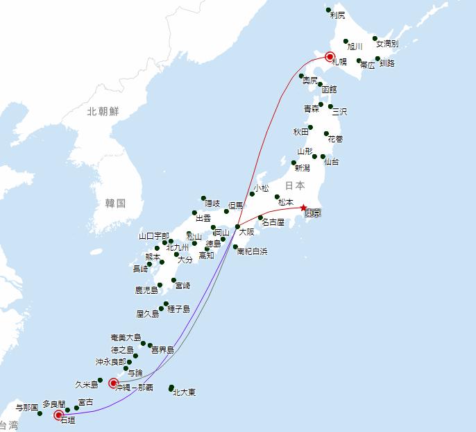 関西国際空港JAL路線図