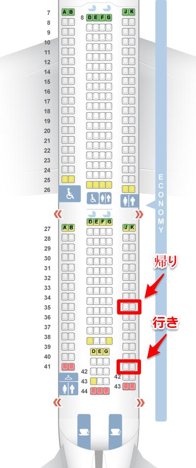 チャイナエアライン221・220便座席表