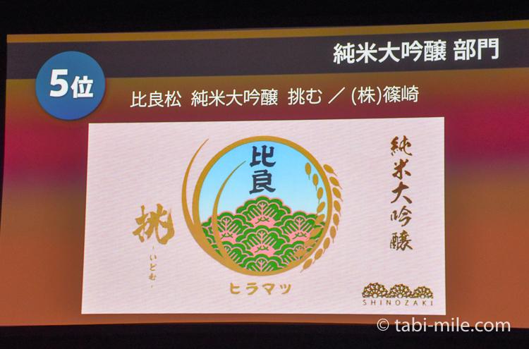 SAKE COMPETITION 2017 純米大吟醸 5位