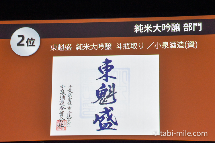 SAKE COMPETITION 2017 純米大吟醸 2位