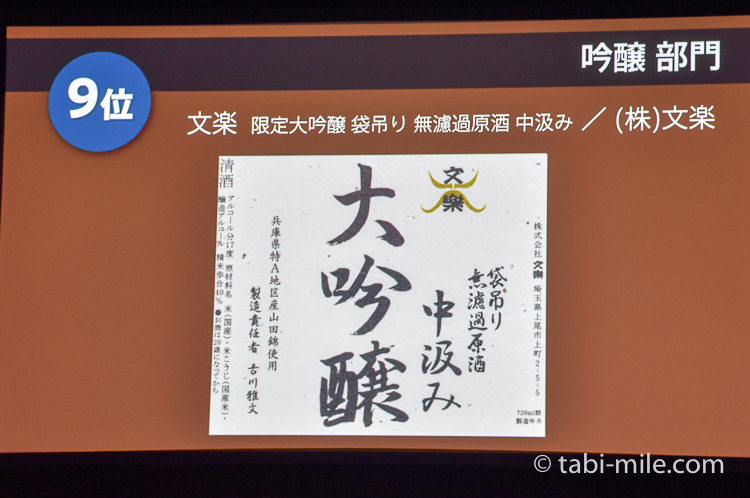 SAKE COMPETITION 2017 純米大吟醸 9位