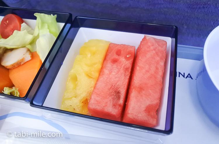チャイナエアライン エコノミークラス 機内食 帰り 果物