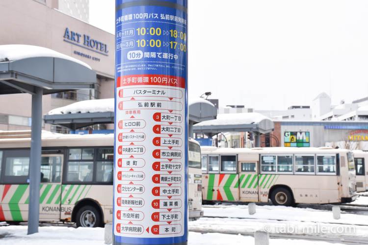 青森旅行 弘前駅 100円バス停3
