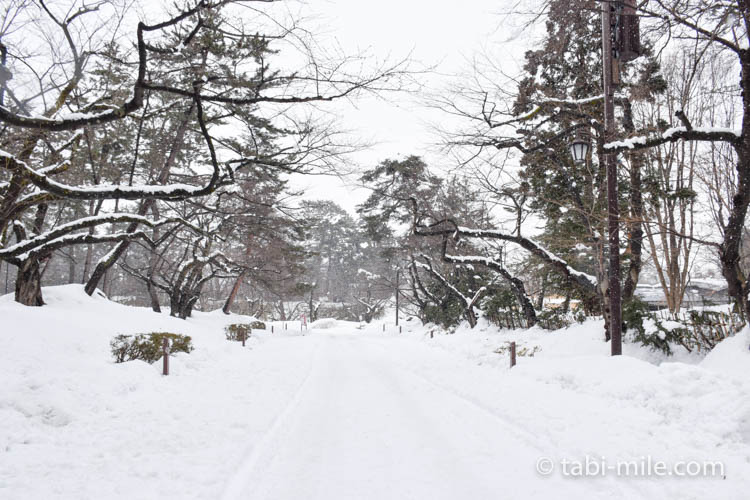 青森旅行 弘前 弘前公園 一面雪