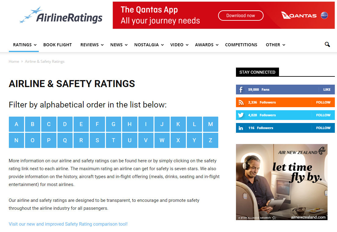 AirlineRatings.comの「AIRLINE & SAFETY RATINGS」