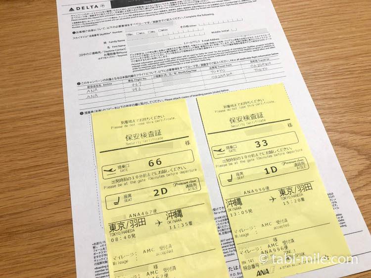 デルタニッポン500マイルキャンペーン申請用紙写真