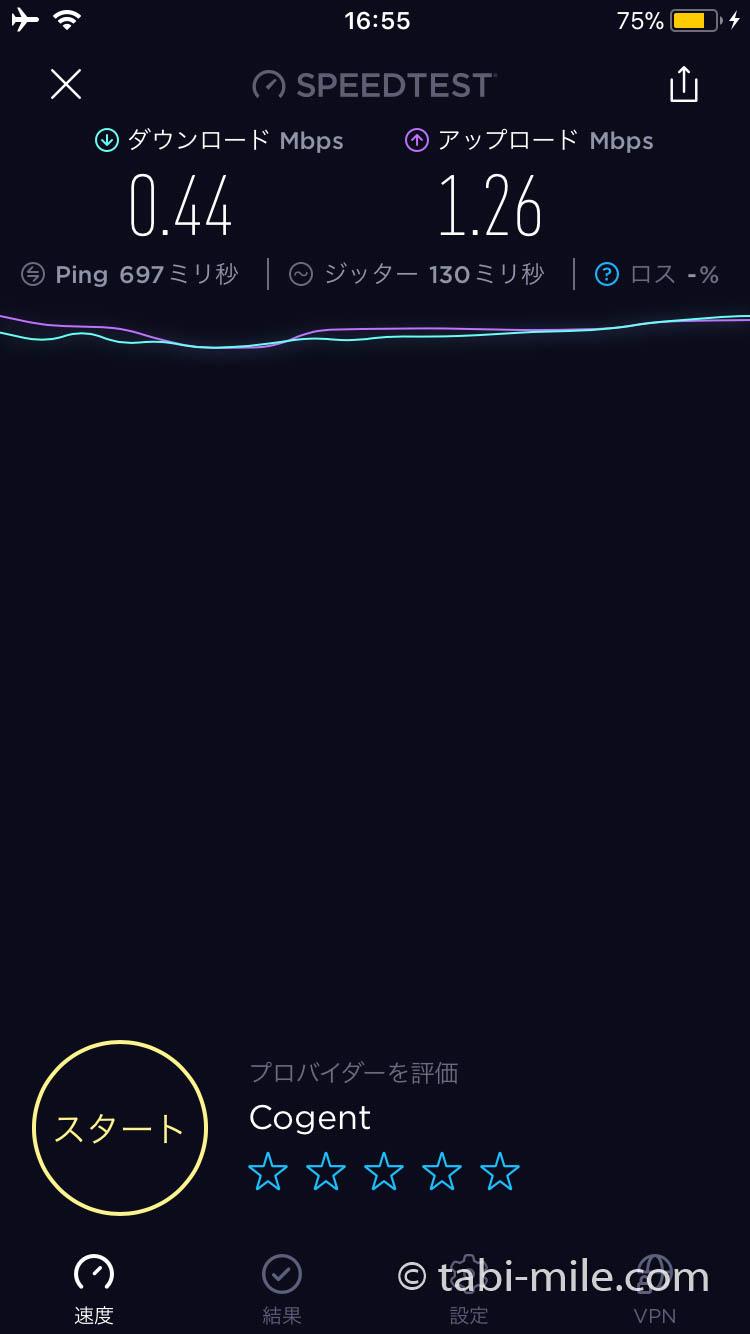 ANA機内Wi-Fiの速度