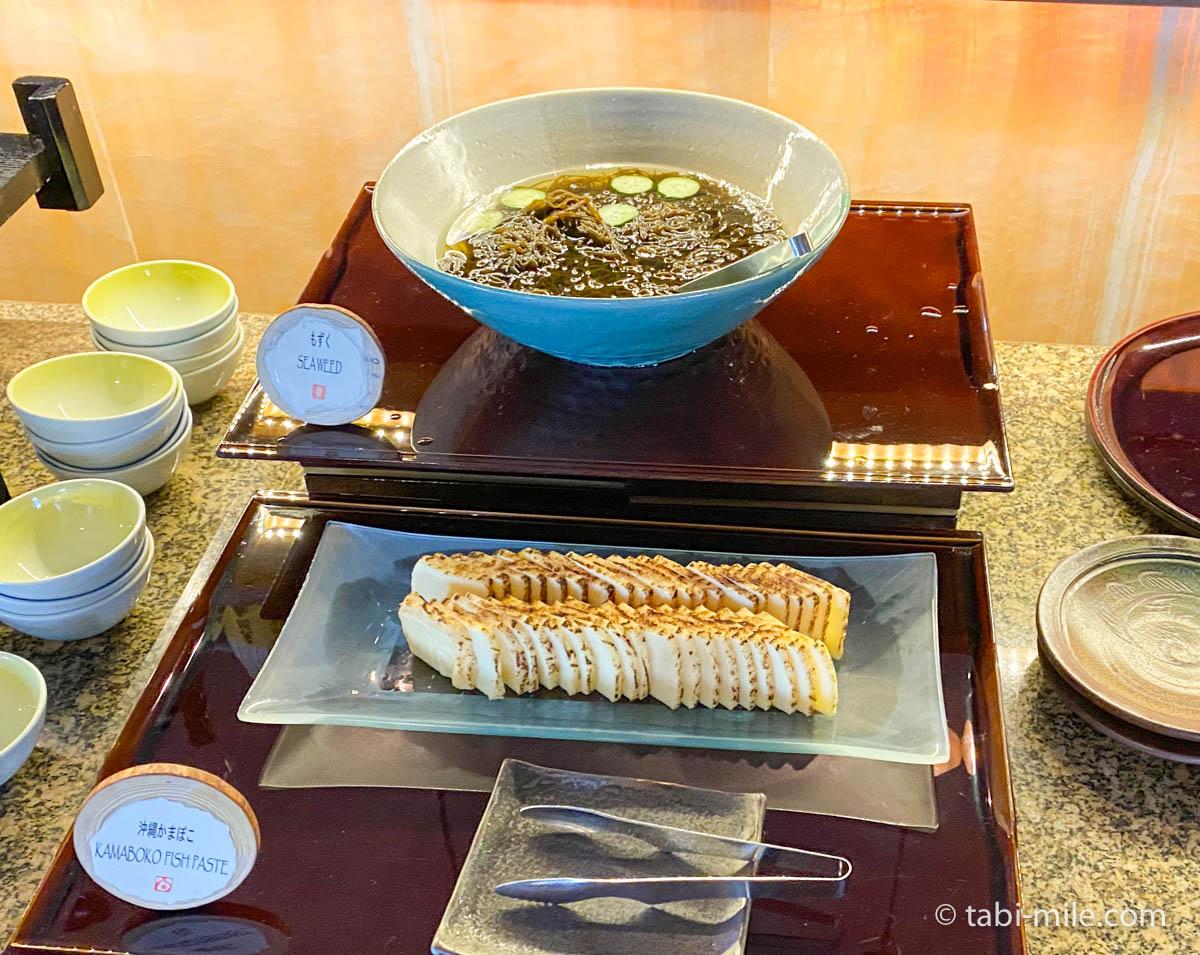 リッツカールトン沖縄、朝食ビュッフェ、グスク、もずく、沖縄かまぼこ