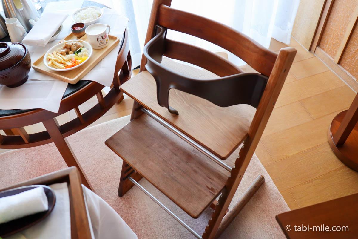 リッツカールトン沖縄、朝食ビュッフェ、グスク、ハイチェア
