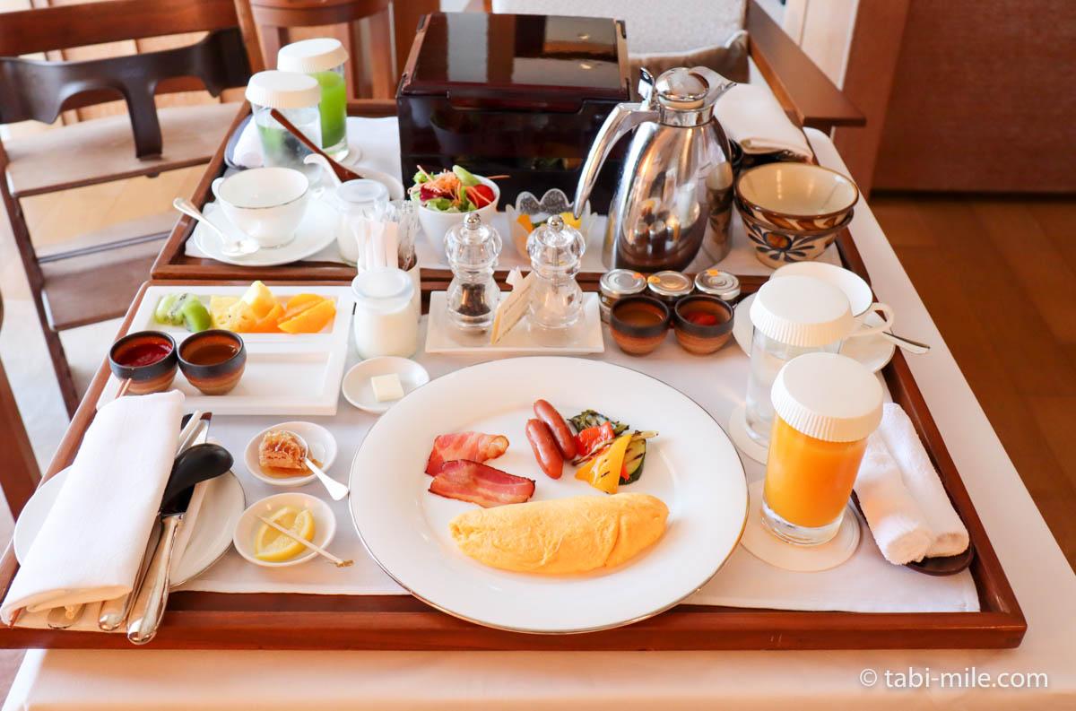 リッツ・カールトン沖縄、ルームサービス、朝食、和食、アメリカンブレックファースト